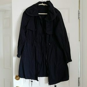 Jackets & Blazers - Navy Cotton Trench